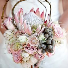 #native #weddingflowers #protea #bouquet # pastel