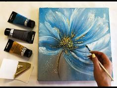 How to make Abstract Flower Painting with gold leaf Acrylic Easy Techniques by J. - How to make Abstract Flower Painting with gold leaf Acrylic Easy Techniques by Julia Kotenko - Ikat Painting, Acrylic Painting Flowers, Acrylic Painting Techniques, Abstract Flowers, Acrylic Painting Canvas, Pour Painting, Painting Tutorials, Canvas Art, Gold Leaf Art