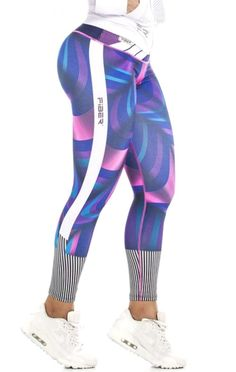 Fiber - Purple and Pink Leggings Striped Leggings, Pink Leggings, Printed Leggings, Workout Clothes Cheap, Workout Clothing, Athletic Outfits, Athletic Clothes, Fitness Gifts, Fitness Gear