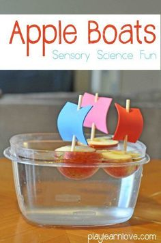 Simple science for preschoolers or kindergarteners: DIY Apple Boats! Would be fun for an apple unit! Preschool Apple Theme, Fall Preschool, Preschool Classroom, In Kindergarten, Preschool Apple Activities, Preschool Apples, Preschool Themes, Preschool Science, Science For Kids
