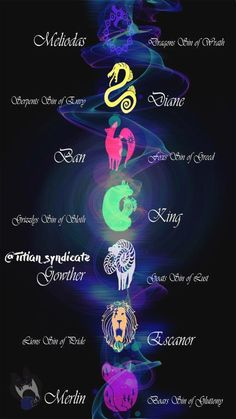 The Seven Deadly Sins, their names, and their symbols