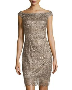 Sequined Metallic-Lace Cocktail Dress, Winter Sage by Kay Unger New York at Neiman Marcus Last Call.