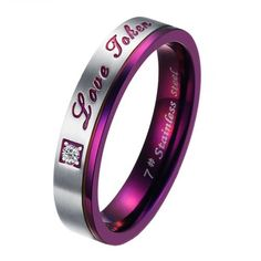 Brand New Titanium Stainless Steel Promise Ring Love Couple Wedding Bands Engagement Purple Gift $6.99