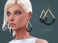The Sims Resource: Gold-plated horn earrings ELODIA by starlord • Sims 4 Downloads