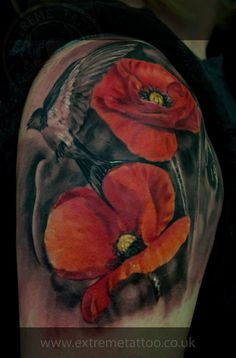 Poppies and swallow,done at Extreme Tattoo&Piercing Inverness,Highland, Scotland by Catalin Gal.At our studio,you can get all kind of tattoos and piercings, like Realistic, Black and grey tattoo,Japanese tattoo,Traditional, Floral,Chinese tattoo,Fine line art tattoo, Old school tattoo,Maori tattoo, Religious tattoo, Pin-up tattoo, Celtic tattoo, New school tattoo,Oriental tattoo, Biomechanical tattoo and lots of other designs .For bookings,email studio@tattooscotland.co.uk!
