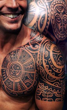 The roots of tribal tattoos are are always deeply symbolic in ancient times and represent one's rank and social status. Here we compiled 25 best tribal tattoo designs for men. Tribal Chest Tattoos, Tribal Shoulder Tattoos, Tribal Tattoos For Men, Tattoos For Guys, Tattoo Shoulder, Tribal Henna, Chest Tattoos For Men, Tribal Tattoos With Meaning, Tattooed Guys