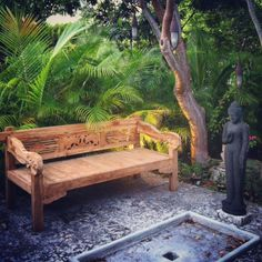 Paradise At Home. Large Carved Teak Bench/daybed In Stock Now For $495.