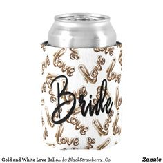 Gold and White Love Balloon Typography Pattern Can Cooler Customize these to match your sets Make your day special with these custom and sets Wedding Koozies, Wedding Gifts, Wedding Invitations, Wedding Postage Stamps, Love Balloon, Mr And Mrs Wedding, Newlywed Gifts, Stamp Making, Cute Pattern