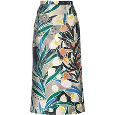 Rochas - embellished printed skirt - women - Silk/Polyester - 40 (150.220 RUB) via Polyvore featuring skirts, silk skirt, colorful skirts, rochas, embellished skirts and multi colored skirt