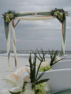 beach wedding arbor leather
