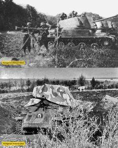 Nimród önjáró lövegek a terepen.Alsó képen álcázva beásva látható a keleti fronton. Defence Force, Ww2 Tanks, Hungary, Wwii, Moth, Army, Military, History, Retro