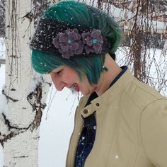 Blue-Grey Wool Ear Warmers with Dusty by ComplementsByLaura
