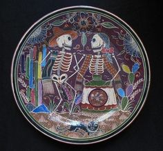 "Javier Ramos Lucano Day of the dead platter plate 19.5"" dia"