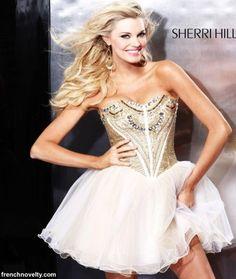 2012 Prom Dresses Sherri Hill Ivory Gold Short Prom Dress 2788