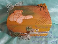 Craftymonster81 Bear Images, How To Tie Ribbon, How To Apply, How To Make, Wooden Boxes, Altered Art, Decorative Boxes, Patches, Paper