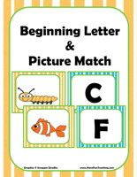 Alphabet Picture Matching Activity: Match the starting letter to the picture. Writing practice sheets are included.  Information: Alphabet, Letters, Uppercase Letters, Lowercase Letters, Beginning Letters, First Letters, Matching Activity