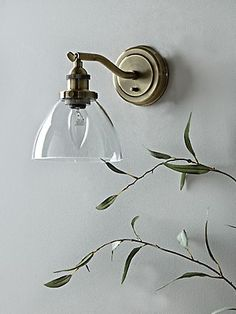 Crafted from black iron, our elegant wall light contrasts the bold industrial style with a feminine floral joining and soft grey lamp shade. This vintage inspired wall light is perfect for your bedroom or living space, and will provide the perfect glow f Indoor Wall Lights, Glass Wall Lights, Bathroom Wall Lights, Room Lights, Bathroom Lamps, Bathroom Inspo, Small Bathroom, Bathroom Ideas, Ceiling Lights