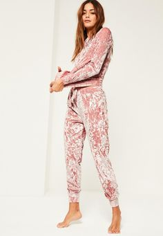 Missguided - Pink Velvet Lounge Tracksuit
