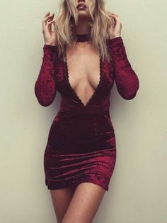 Wine Red Choker Plunge Neck Bodycon Velvet Dress | Irisie