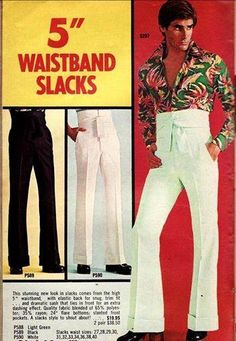 "5"" Waistband Slacks  kinda creepy in a 70's way!"