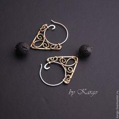 Купить Серьги Wirry (серебро) - черный, лава, серебро, wire wrap, серьги-кольца