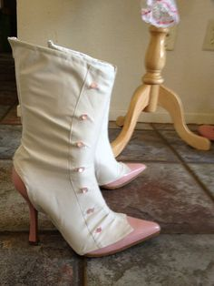 Mary Poppins Jolly Holiday White Spats boot covers pink buttons zipper back on Etsy, $75.99