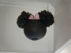 Minnie Mouse DIY Paper Lanterns via- Catch My Party: wire around the center of the pom pom , then twist it to the metal part of the china ball   http://my-i-love-colorful-candies.blogspot.com