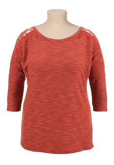 Slub Crochet Shoulder plus size Dolman Top might have already pinned this but i really like it!!!