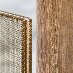 metal mesh samples for our new range of decorative laminated glass Double Glass, Curved Glass, Metal Texture, Glass Texture, Window Mesh Screen, Laminate Wall, Laminate Colours, Glass Stairs, Wall Shelf Decor