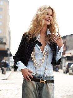 Layered pearl necklaces and an Hermes leather belt make for a timeless outfit combination.