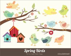 Spring Birds Clipart for personal and commercial use ( Cute birds clip art ) INSTANT DOWNLOAD. $4.95, via Etsy.