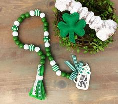 Patricks Day Irish Coffee in a Whipped Mug Bead Garland. Green and White. Includes garland only! St. Patrick's Day Diy, Wood Bead Garland, Beaded Garland, St Patrick's Day Decorations, Handmade Decorations, Bead Crafts, Diy Crafts, Irish Decor, Automotive Furniture