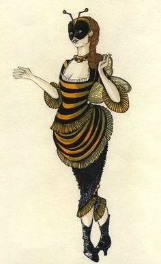 Vintage bee costume - Its cute Halloween Kostüm, Vintage Halloween, Halloween Costumes, Vintage Bee, Masquerade Costumes, Bee Art, Theatre Costumes, Maquillage Halloween, Fantasy Costumes