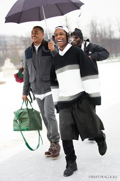 A$AP Rocky wearing Shaun Samson AW13 Earmuffs, Oversized Top, and Shorts at Dior Couture Spring 2013 Runway Show | UpscaleHype