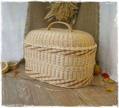 """Корзины, коробы ручной работы. Ярмарка Мастеров - ручная работа """"Теплая осень """" Большой плетеный короб. Handmade."""
