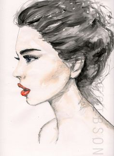Water colour and pencil side view illustration by Lucy Alice Gibson #sideview #fashionillustration #watercolour