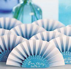 Paper Fan Place Card. #weddings