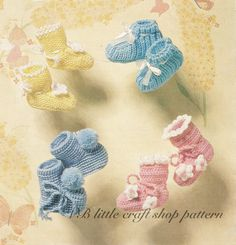 Baby's bootees knitting and crochet pattern. Instant PDF download! by VBlittlecraftshop on Etsy