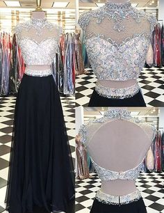 Two Pieces Prom Dresses,High Neck Prom Gowns,Black Prom Dresses, Luxury Prom Dresses, Rhinestone Prom Dresses,Beaded Prom Dress,Chiffon Prom Dress,Long Prom Gowns, Open Back Prom Dress,Sexy Prom Dresses,Fashion Prom Dresses