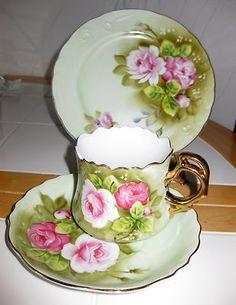 Antique Vintage Lefton Tea Cup 3 Piece Set Hand Painted | eBay