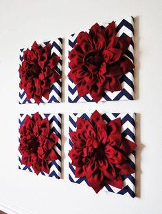 Wall Decor -SET OF FOUR Cranberry Red Dahlias on Navy