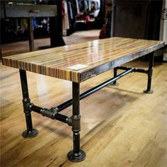 Butcher Block Table butcher block table butcher block slab table, 2013 this coffee table contains sections of over RMWTTZI Pipe Furniture, Country Furniture, Recycled Furniture, Furniture Making, Furniture Plans, Furniture Vintage, Furniture Design, Pipe Table, Slab Table