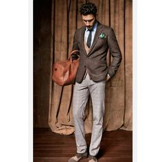 The combination of greys, browns and green work perfectly together. A charming look. http://www.memysuitandtie.com/