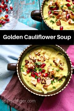 Golden Cauliflower Soup, starting with Minerva Dairy Amish Buttered Cauliflower, Turmeric, Curry, Coconut Milk, garnished with Almonds and Pomegranate. Recipes For Soups And Stews, Soup Recipes, Whole Food Recipes, Cauliflower Soup, Roasted Cauliflower, Amish Butter, Low Carb Recipes, Healthy Recipes, Curry Spices