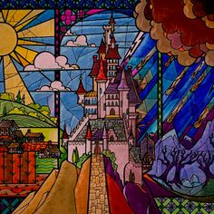 """""""Beast's Castle"""" stained glass animation designed by Mac George for """"Beauty & The Beast"""" (Disney, © Disney Stained Glass, Stained Glass Art, Stained Glass Windows, Arte Disney, Disney Art, Disney Wiki, Disney Magic, Disney Movies, Beauty And The Beast Cross Stitch"""