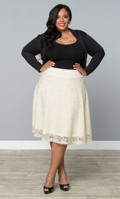 Accent your feminine curves with a classic circle skirt like Kiyonna's plus size Matinee Lace Midi Skirt.  See our entire made in the USA collection and more accessories online at www.kiyonna.com.  #KiyonnaPlusYou