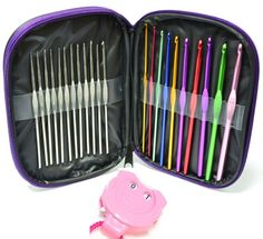 22 Aluminium & Steel SG Crochet hooks in case PU leather case 22 Multi-colour Aluminum Crochet Hooks Needles Yarn Weave Knit Craft Set w/ Case + A Kacha Kacha:Amazon.co.uk:Kitchen & Home