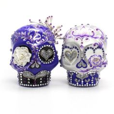 Purple and Silver Skull Cake Toppers Day of the Dead Wedding Cake Toppers Ceramic Sugar Skull Handmade 00086  www.goodiemud.com