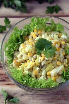 Porowo-jajeczna sałatka z kukurydzą – Smaki na talerzu