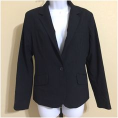 New York And Co. Navy Blue Blazer Size 10 New York & Company Women's Blazer Size 10 Blue Color Lighter Blue Vertical Pinstripe Pattern Lined 1 External Button Closure Extra Button Included Long Sleeve 2 Faux Front Pockets Rear Slit Dry Clean Shell 65% Polyester 32% Rayon 3% Spandex Lining 100% Polyester Armpit to Armpit Approx. 20 Inches Length From Rear Collar Seam Approx. 23 Inches Shoulder Approx. 16 Inches Sleeve From Shoulder Approx. 23 Inches MSRP $ 69.95 New With Tag New York…